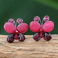 Garnet button earrings, 'Exotic Butterfly' - Garnet button earrings