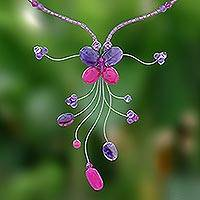 Amethyst beaded necklace, 'Butterfly Grace' - Hand Made Amethyst Beaded Necklace
