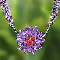 Amethyst flower necklace 'Purple Chrysanthemum'