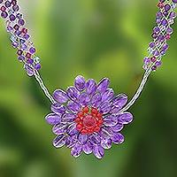 Amethyst flower necklace 'Purple Chrysanthemum'