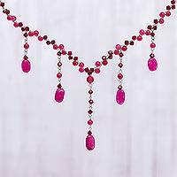 Beaded waterfall necklace, 'Red Empress' - Beaded waterfall necklace