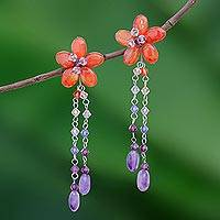 Carnelian and amethyst floral earrings, 'Sweet Eternal' - Handmade Floral Beaded Carnelian Earrings