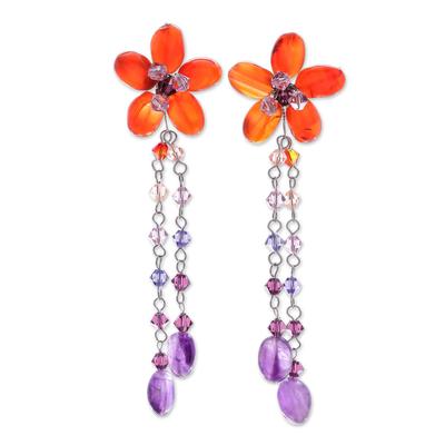 Carnelian and amethyst floral earrings, 'Sweet Eternal' - Handmade Floral Beaded Carnelian Earrings