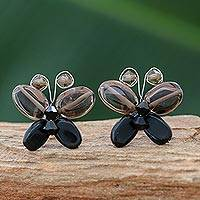Quartz button earrings, 'Dark Exotic Butterfly' - Artisan Crafted Beaded Quartz Earrings