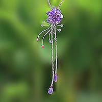 Amethyst flower necklace, 'Violet Splendor' - Amethyst flower necklace