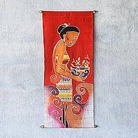 Cotton wall hanging, 'Breeze of Admiration' - Cotton wall hanging