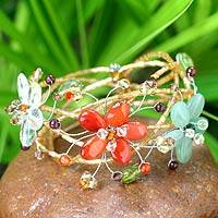 Carnelian and garnet wrap bracelet, 'Forest Garland'