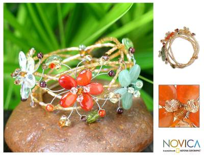 Carnelian and garnet wrap bracelet, 'Forest Garland' - Unique Multigem Floral Wristband Bracelet