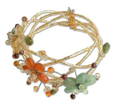 Carnelian and garnet wrap bracelet, 'Forest Garland' - Unique Multigem Floral Wristband Bracelet