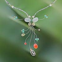 Peridot and citrine Y necklace, 'Forest Butterfly' - Peridot and Carnelian Beaded Necklace