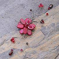 Garnet brooch pin, 'Raspberry Bouquet' - Hand Crafted Floral Quartz Brooch Pin