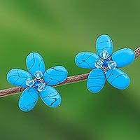 Turquoise button earrings, 'Cool Blue Flower' - Unique Floral Button Earrings