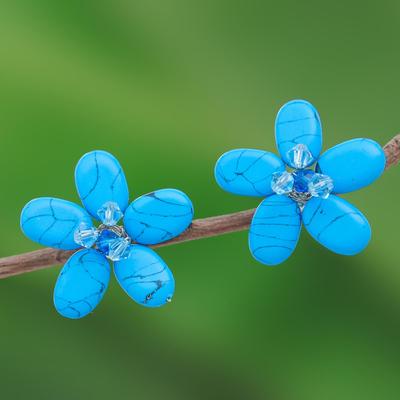 Turquoise button earrings, 'Cool Blue Flower' - Unique Floral Button Earrings