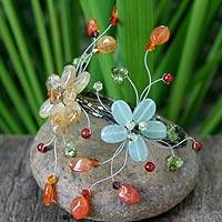 Carnelian and citrine wrap bracelet, 'Blossoming Web'