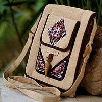 Hemp shoulder bag, 'Earth Miracle' - Thai Hill Tribe Embroidered Hemp Shoulder Bag