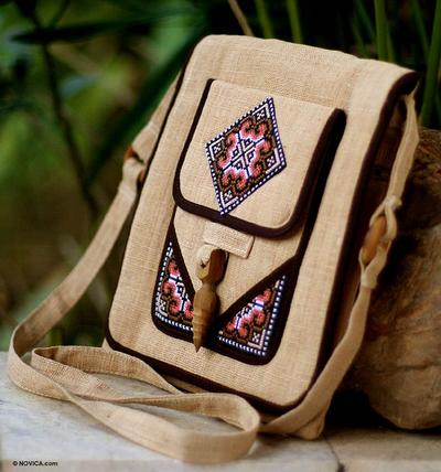 Hemp shoulder bag, 'Earth Miracle' - Thai Hill Tribe Embroidered Hemp Shoulder Bag