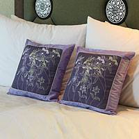 Silk and cotton cushion covers, 'Violet Herbs' (pair) - Hand Crafted Floral Silk Cushion Covers (Pair)