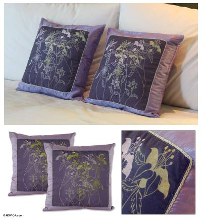 Silk and cotton cushion covers, Violet Herbs (pair)