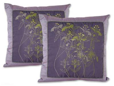 Hand Crafted Floral Silk Cushion Covers (Pair)