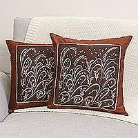 Silk and cotton cushion covers, 'Fertile Field' (pair) - Silk and cotton cushion covers (Pair)