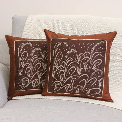 Silk and cotton cushion covers, Fertile Field (pair)