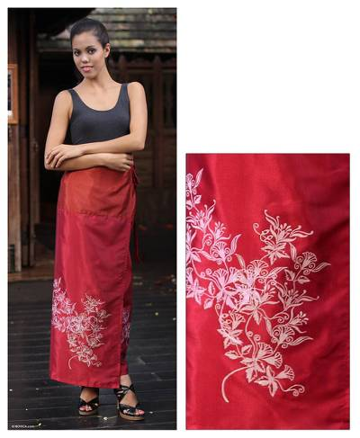 Silk and cotton sarong, 'Bright Blossoms' - Handcrafted Silk Sarong