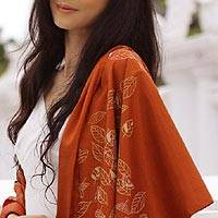 Silk and cotton shawl, 'Fall Foliage' - Fair Trade Silk and Cotton Shawl