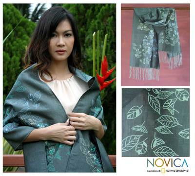 Silk and cotton shawl, 'Emerald Foliage' - Silk and cotton shawl