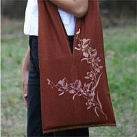 Cotton shoulder bag, 'Nature is Flowers' - Floral Cotton Brown Shoulder Bag