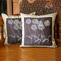 Silk and cotton cushion covers, 'Quiet Dandelions' (pair) - Silk and Cotton Cushion Covers (Pair)