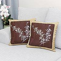 Silk and cotton cushion covers, 'Wild Orchids' (pair) - Handmade Floral Cushion Covers (Pair)
