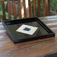 Eggshell mosaic tray, 'Diamond Depth' - Eggshell mosaic tray