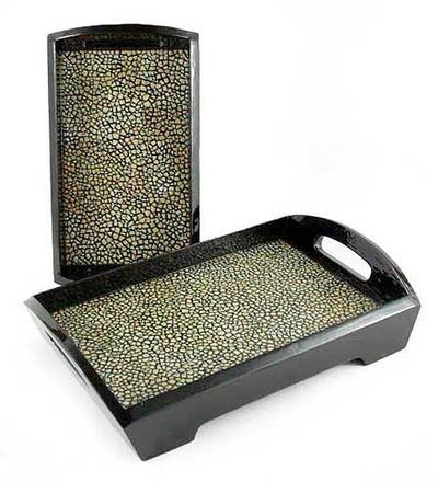 Eggshell mosaic trays (Pair)