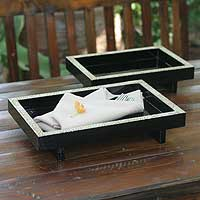 Featured review for Eggshell mosaic trays, Lacquer Ponds (pair)