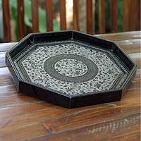 Lacquered wood tray, 'Elegance Engraved' - Fair Trade Wood Serving Tray