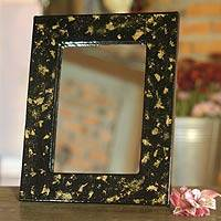 Lacquered wood tabletop mirror, 'Gold Beauty' (5x7) - Lacquered wood mirror (5x7)