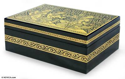 Lacquered jewelry box, 'Angel Song' - Lacquered Mango Wood jewellery Box