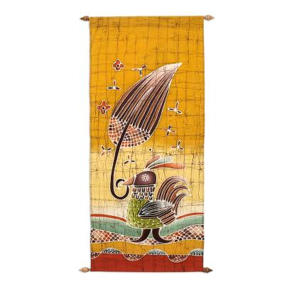 Cotton wall hanging, 'Proud Male Bird' - Cotton wall hanging