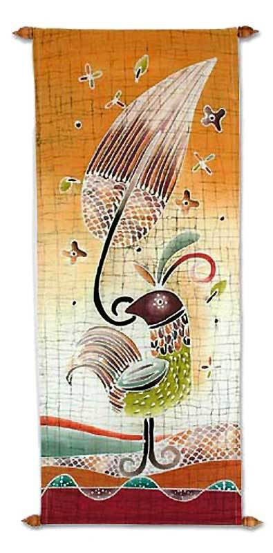 Cotton wall hanging, 'Proud Female Bird' - Handmade Batik Wall Hanging