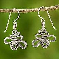 Silver dangle earrings, 'Pagoda' - 950 Silver Dangle Earrings