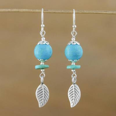 37417a7ab Sterling silver dangle earrings, 'Floral Reflection' - Unique Silver and Turquoise  Dangle Earrings