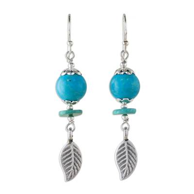 Unique Silver and Turquoise Dangle Earrings