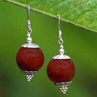 Carnelian dangle earrings, 'Butterfly' - Sterling Silver and Carnelian Dangle Earrings