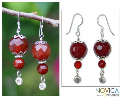 Carnelian dangle earrings, 'Fervent Heart' - Carnelian dangle earrings