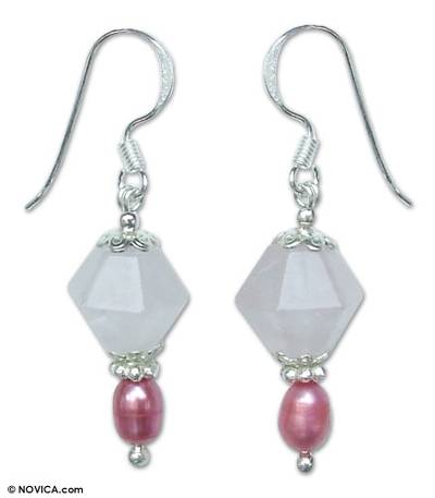 Rose Quartz and Pearl Dangle Earrings