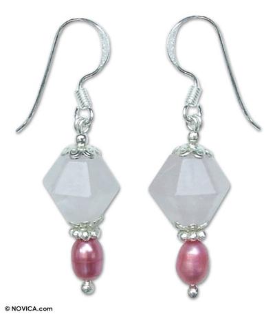 Rose Quartz and Pearl Dangle Earrings