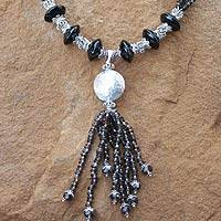 Onyx and quartz pendant necklace, 'Excellence' - Onyx and Quartz Pendant Necklace