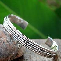 Sterling silver cuff bracelet, 'Harmony' - Sterling Siver Cord Bracelet from Thailand