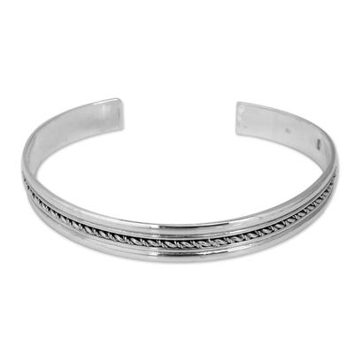 Sterling silver cuff bracelet, 'Harmony' - Handcrafted Sterling Silver Cuff Bracelet