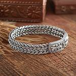 Handcrafted Sterling Silver Wristband Bracelet, 'Unity'